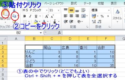 エクセル表選択1